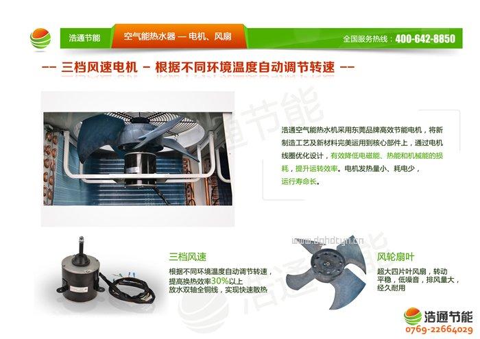 浩通3P空气能热泵顶出风GT-SKR030(KFXRS-12Ⅱ)系列热泵电机与风扇优势图解