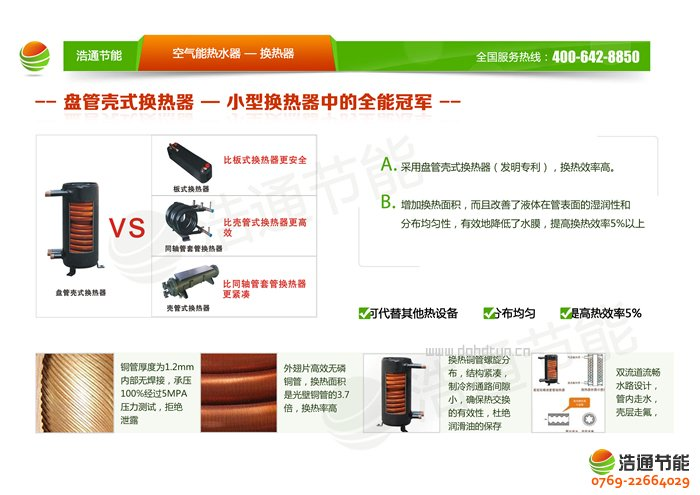浩通10P空气能热泵顶出风GT-SKR100(KFXRS-33Ⅱ)系列热泵换热器优势图解