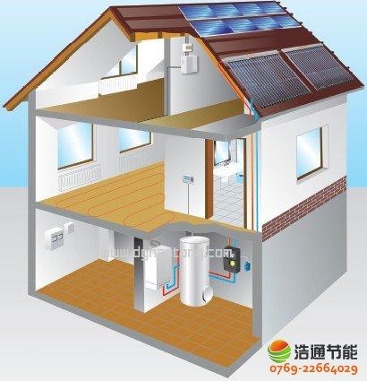 别墅型太阳能热水工程系统安装效果图