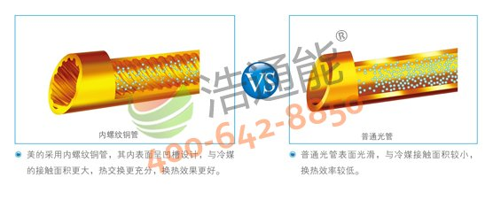 【美的空气能热水器3P循环式RSJ-100/M-540V1】高效内螺纹铜管,有效提升换热效率