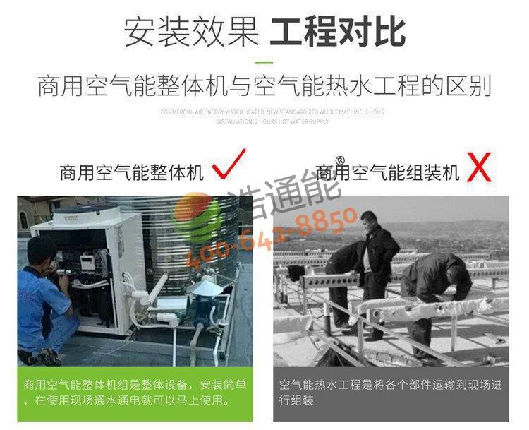 浩通能商用空气源热泵一体机(烈焰式)10匹10吨/8吨与传统热水工程相比优势