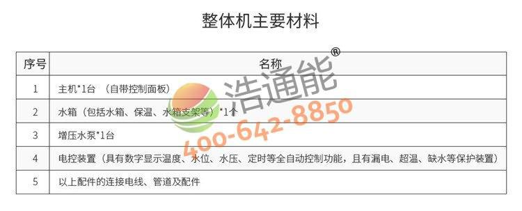 浩通能商用空气源热泵一体机(烈焰式)10匹10吨/8吨产品清单